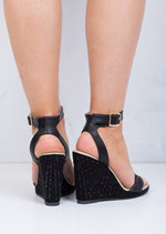 Diamante Embellished Wedge Sandals Black