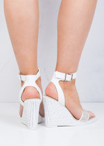 Diamante Embellished Wedge Sandals White