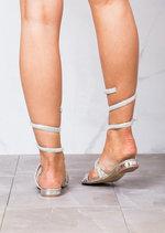 Diamante Gladiator Strappy Flats Sandals Silver