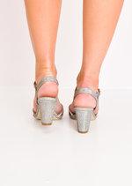 Diamante Glitter Block Heel Sandals Silver