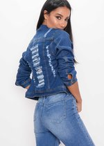 Distressed Ripped Denim Crop Jacket Indigo Blue