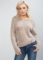 Distressed Ripped Knitted Jumper Beige