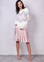 Dusty Pink  Metallic Zig Zag Fullfy Jumper Cream