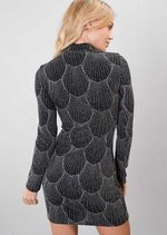 Embellished Diamante High Neck Bodycon Dress Black