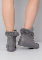 Embellished Pearl & Diamante Faux Fur Lined Hi-Top Ribbon Trainers Grey