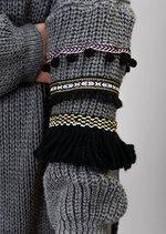 Multi Colour Fringe Embroidered Sleeve Oversized Long Jumper Grey