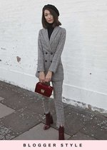 Checked Houndstooth Tailored Longline Blazer Jacket Brown