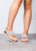 Espadrilles T Bar Fur Pom Pom Flat Sandals Grey