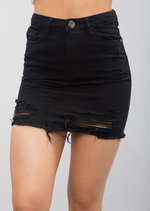 Extreme Ripped Mini Bodycon Denim Skirt Black