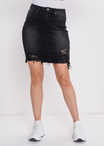 Extreme Ripped Mini Bodycon Denim Skirt Dark Black