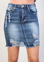 Extreme Ripped Mini Bodycon Denim Skirt Dark Blue