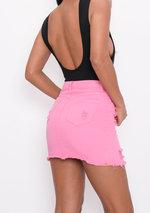Extreme Ripped Mini Bodycon Denim Skirt Pink