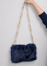 Faux Fur Chain Clutch Bag Navy Blue