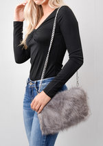 Faux Fur Clutch Bag Grey