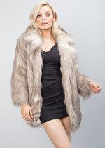 Faux Fur Collar Shaggy Coat Jacket Brown