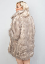 Faux Fur Collar Shaggy Coat Jacket Brown