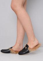 Faux Fur Flat Slip On Mule Loafers Black