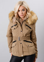 Faux Fur Hooded Belted Puffer Coat Beige