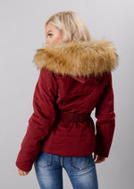 Faux Fur Hooded Belted Puffer Coat Wine Burgundy Red