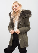 Faux Fur Hooded Parka Khaki Green