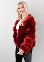 Faux Fur Panel Crop Jacket Coat Dark Burgundy Red