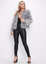 Faux Fur Panel Crop Jacket Coat Light Grey