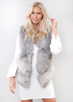 Faux Fur Panel Gilet Jacket Grey