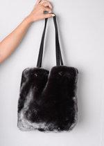 Faux Fur Shopper Tote Bag Grey