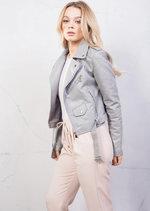 Faux Leather Crop Biker Jacket Grey