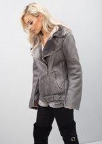 Faux Leather Fur Collar Aviator Biker Jacket Grey
