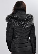 Faux Leather Panel Fur Hooded Padded Puffer Jacket Coat Black