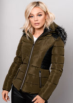 Faux Leather Panel Padded Puffer Jacket Coat Khaki Green