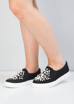 Faux Leather Pearl Embellished Slip On Trainers Black