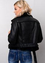 Faux Leather Shearling Cropped Aviator Biker Jacket Black
