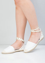 Faux Leather Studded Espadrille Flats White