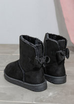 Faux Shearling Lined Pull On Bow Boots Black