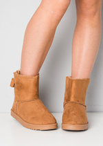 Faux Suede Lined Pull On Bow Short Ankle Boots Tan Brown