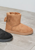 Faux Shearling Lined Pull On Bow Boots Tan Brown