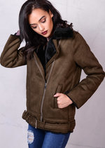 Faux Suede and Shearling Oversized Aviator JacketKhaki Green