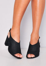 Peep Toe Faux Suede Block Heeled Ankle Boots Black