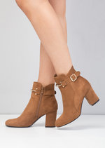 Faux Suede Buckle Ring Block Heel Ankle Boots Brown
