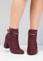 Faux Suede Buckle Ring Block Heel Ankle Boots Red