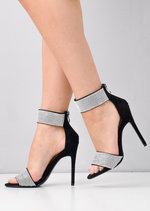 Diamante Embellished Ankle Strap Heels Black