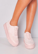 Faux Suede Flatform Lace Up Trainers Pink