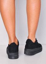 Faux Suede Flatform Lace Up Trainers Black