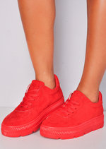 Faux Suede Flatform Lace Up Trainers Red