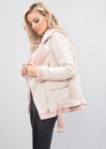 Faux Suede Fur Lined Aviator Shearling Jacket Pink