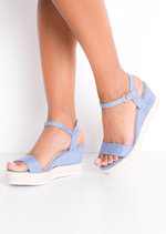 Faux Suede Platform Braided Cork Wedge Espadrille Sandals Light Blue