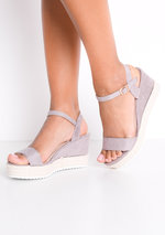 Faux Suede Platform Braided Cork Wedge Espadrille Sandals Lilac Purple