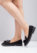 Faux Suede Pom Pom Flat Loafer Shoes Black